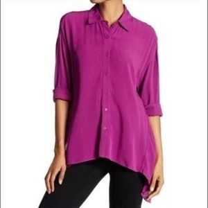 NWT Ro&De Pink Purple Sharkbite Hem blouse